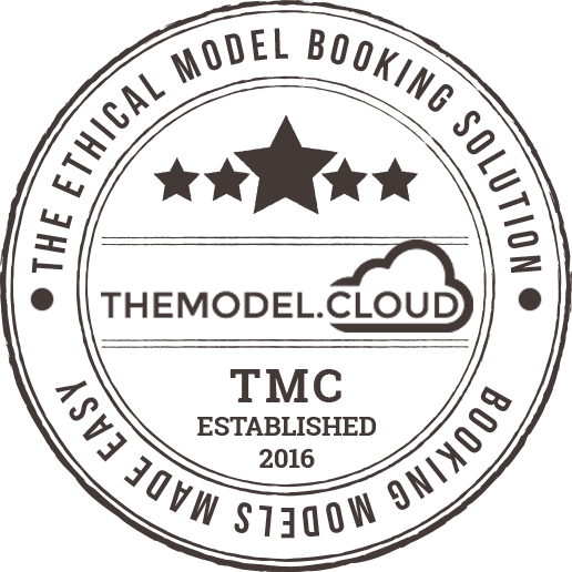 The Model Cloud website shown on mac desktop with stamp